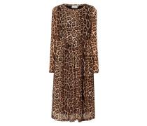 Kleid aus Mesh mit Leopardenmuster