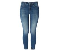 Stone Washed Skinny Fit Jeans mit Used-Effekten