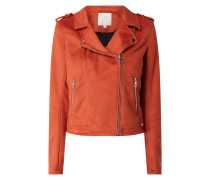 Bikerjacke in Veloursleder-Optik