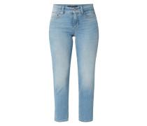 Stone Washed Slim Fit Jeans - verkürzt