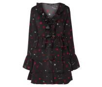 Kleid mit Allover-Muster und Volantbesatz