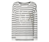 Sweatshirt mit Wording und Streifenmuster