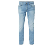 Stone Washed Straight Tapered Fit Jeans