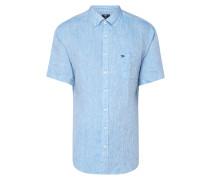 Modern Fit Leinenhemd mit kurzen Ärmeln
