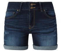 Stone Washed Comfort Fit Jeansshorts