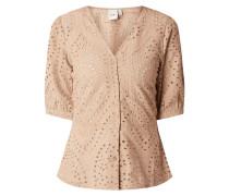 Bluse mit Lochstickereien Modell 'Emmi'