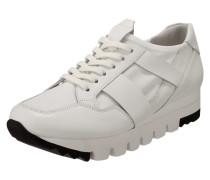 Sneaker aus Leder mit Mesheinsatz