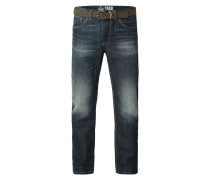 Stone Washed Relaxed Fit Jeans mit Gürtel