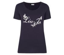 T-Shirt mit Logo-Print und Ziersteinen