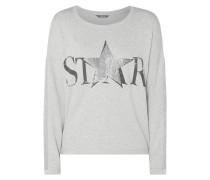 Sweatshirt mit Wording und Motiv aus Effektgarn