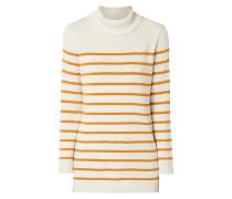 Rollkragen-Pullover mit Streifenmuster