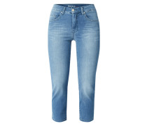 Stone Washed Straight Fit Jeans in 7/8-Länge