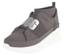 Sock Sneaker aus Textil mit Lederbesatz