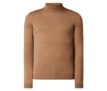 Slim Fit Rollkragen-Pullover aus Schurwolle