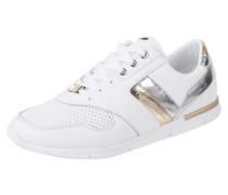 Sneaker aus Leder mit Details in Metallicoptik