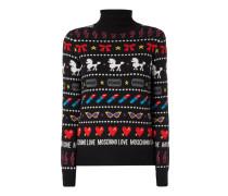 Rollkragen-Pullover mit Allover-Muster