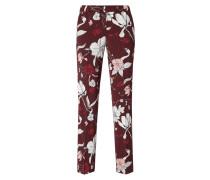 Track Pants mit Bügelfalten und floralem Muster