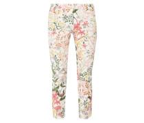 Cropped Slim Fit Jeans mit floralem Muster