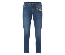 Stone Washed Jeans mit Schmuckdetail