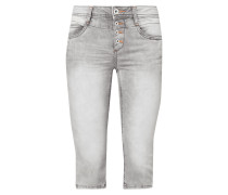 Stone Washed Caprijeans aus Sweat Denim
