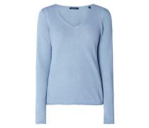 Pullover aus Leinen mit V-Ausschnitt