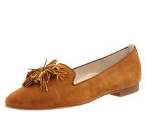Loafer aus Veloursleder mit Fransenbesatz
