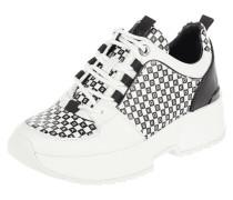 Sneaker Wedges aus Leder mit Logo-Muster
