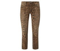Slim Fit Jeans mit Leopardenmuster
