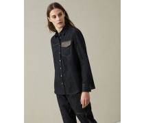 Bluse aus Dark Polished-Denim