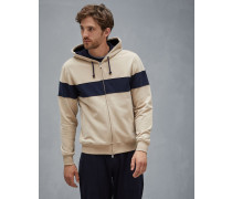 Sweat-Cardigan Panel Stripe