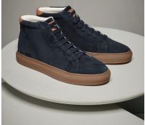 Mittelhoher Sneaker aus gewaschenem Veloursleder