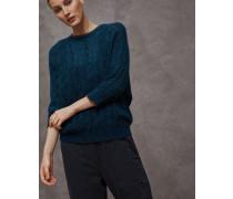 Pullover aus Alpaka und Mohair in Zopfstrick