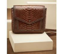 City-Bag aus glänzendem Pythonleder