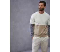 Sweatshirt in Colour Block aus Comfort Baumwolle