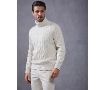 Pullover mit Stehkragen in Zopfstrick aus Kaschmir