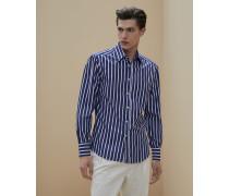Hemd in Slim Fit aus Popeline in breitem Streifen