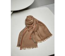 Schal mit Webkante aus Twill in Kaschmir und Seide