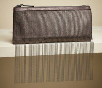 Tasche aus Lamé-Leder in Feincord-Optik