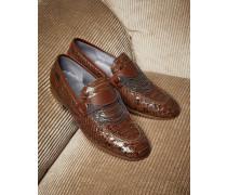 Loafer aus Pythonleder in Glanzoptik