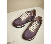 Sneakers aus leichtem Taft und Veloursleder