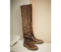 Overknee-Stiefel aus Reiterleder und Veloursleder