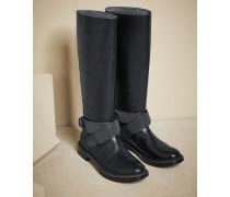 Stiefel aus glattem Kalbsleder mit Schmuckbändern