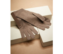 Handschuhe aus Kaschmirstrick mit Schmuckstreifen