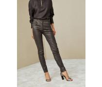 Legginghose aus Metallic-Veloursleder mit Stretch