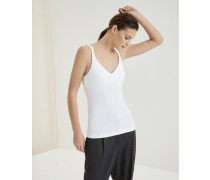 Top aus Stretch-Baumwolljersey mit Shiny Straps