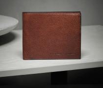 Horizontale Brieftasche aus glänzendem Kalbleder