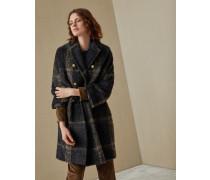 Mantel in glitzerndem Karo aus Alpaka und Wolle