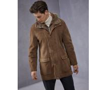 Lange Lederjacke aus leichtem Shearling