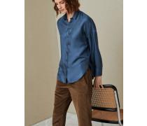 Bluse aus Seidentwill mit doppeltem Schmuckkragen