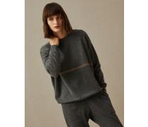 Pullover aus Kaschmir mit glänzendem Streifen